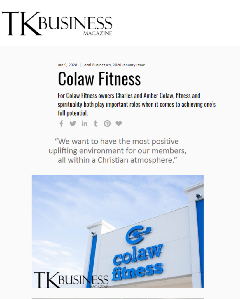 TK Business Magazine Colaw Fitness